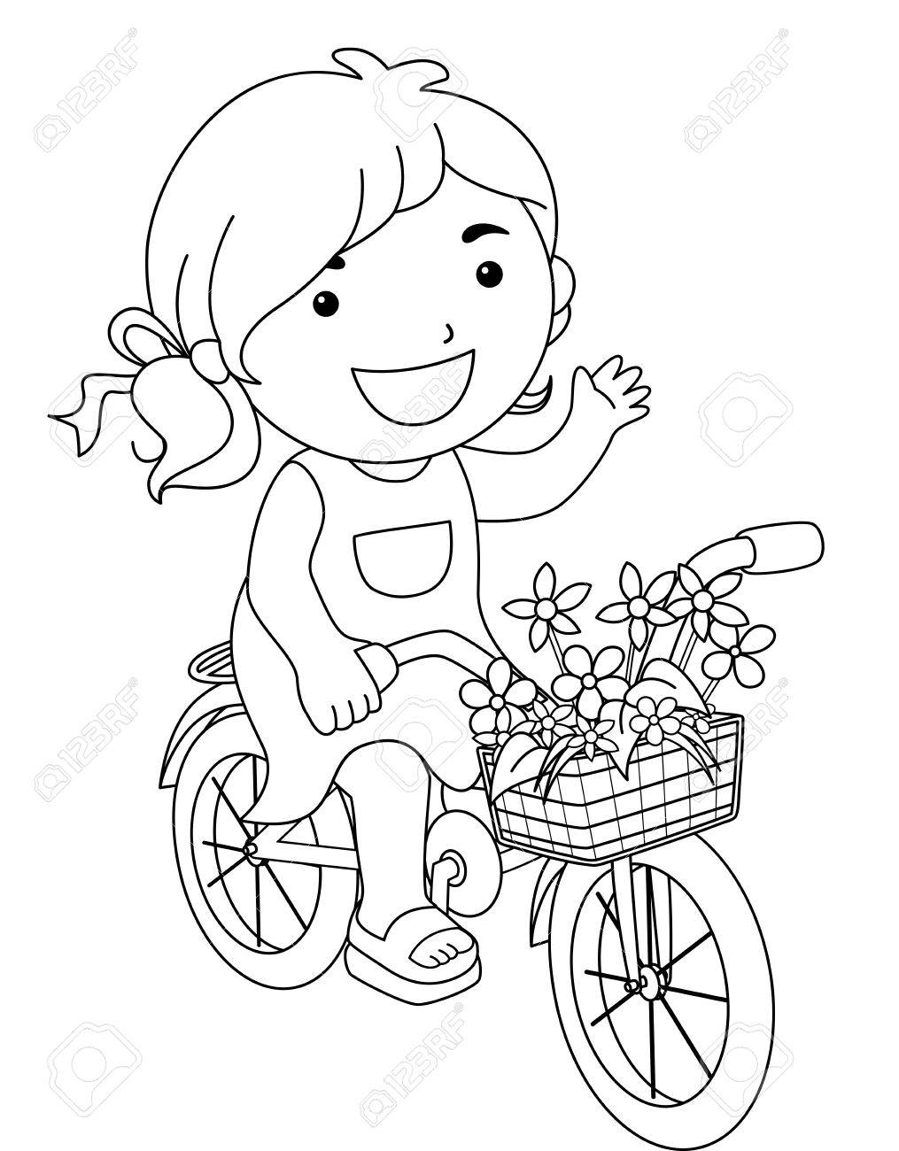 coloring book line art illustration of a little girl riding a bike carrying a basket of - Bicycle Coloring Book