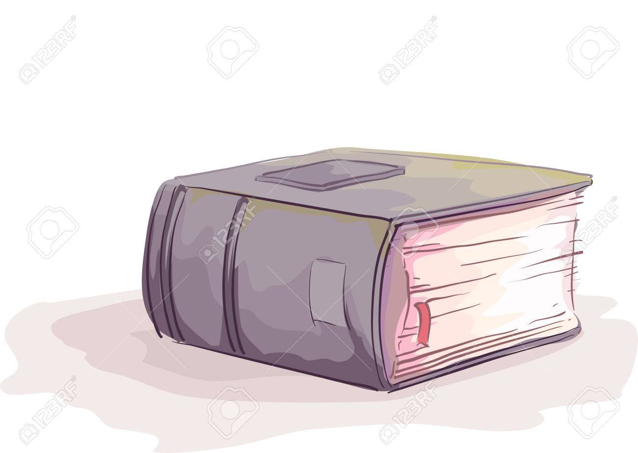 sketchy illustration of a thick hardbound book with a marker stock