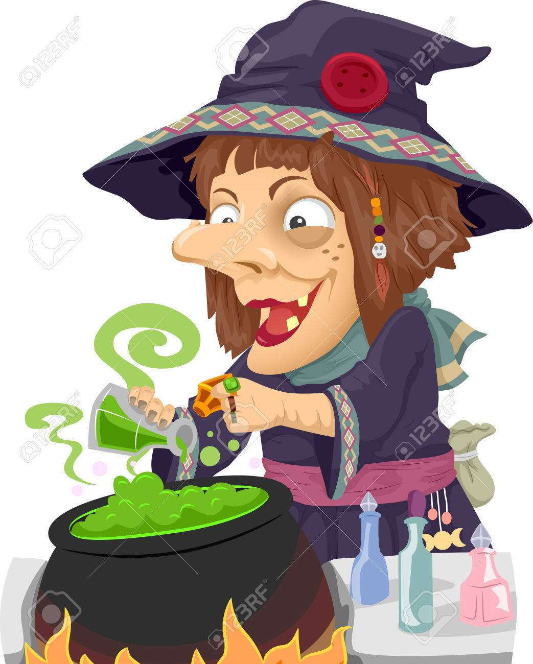 illustration of a witch mixing potions in a cauldron stock photo