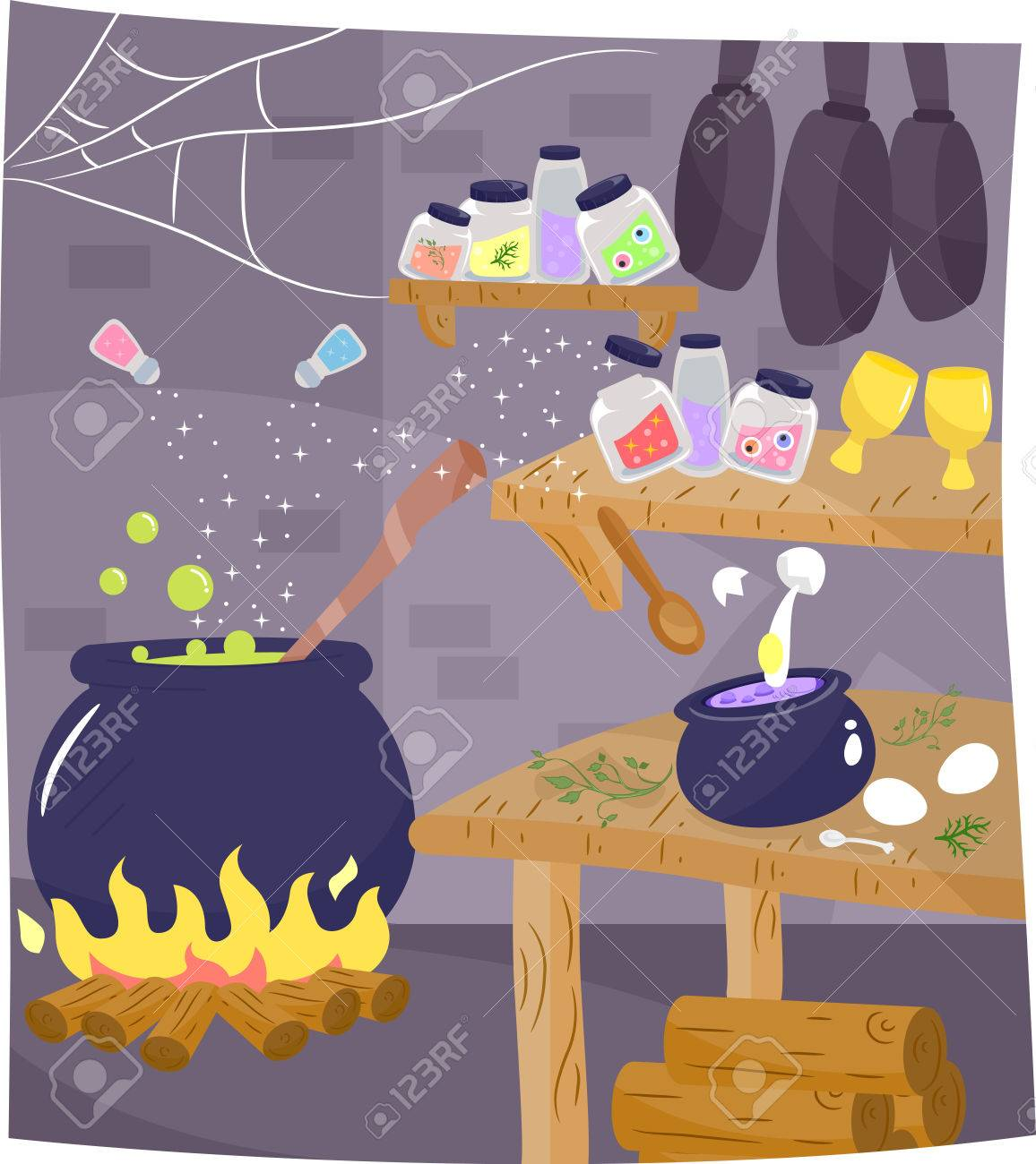 Illustration Der Küche Einer Hexe Mit Einem Trank Brewing In Der ...