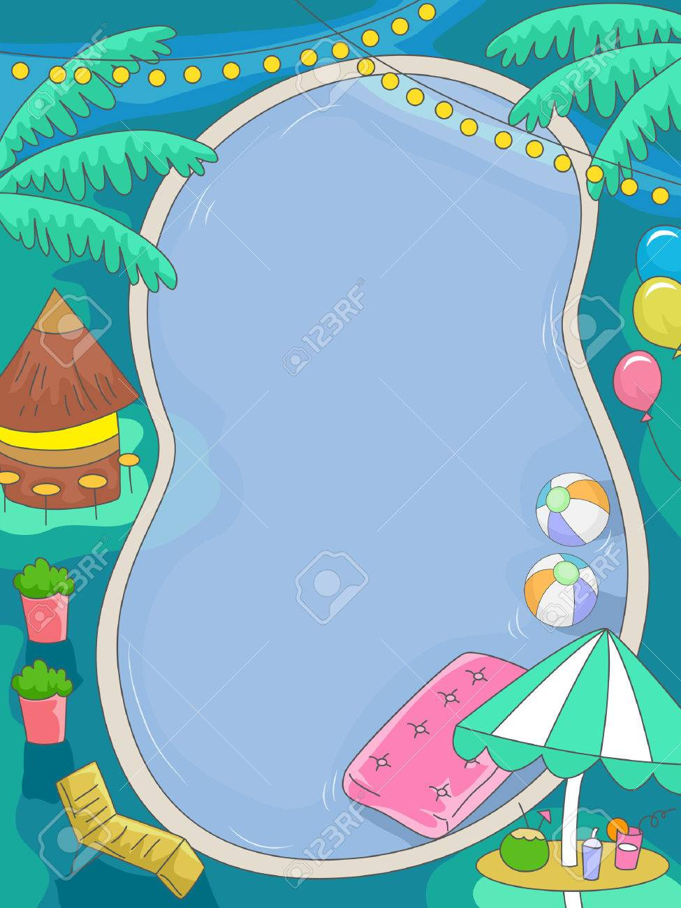 illustration of a birthday pool party with a tropical theme stock
