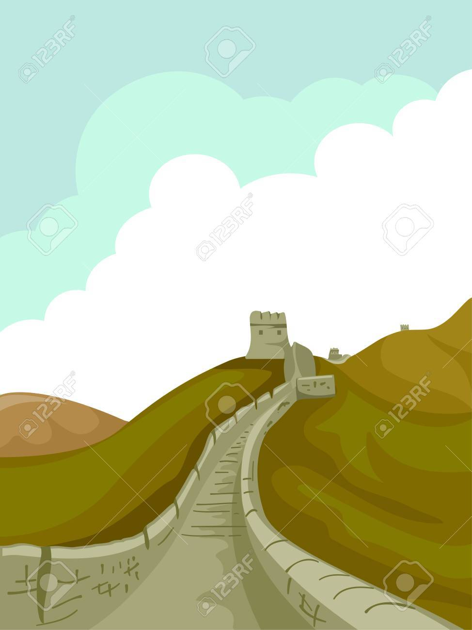 Illustration Of A Pathway At The Great Wall Of China Leading.. Stock ...