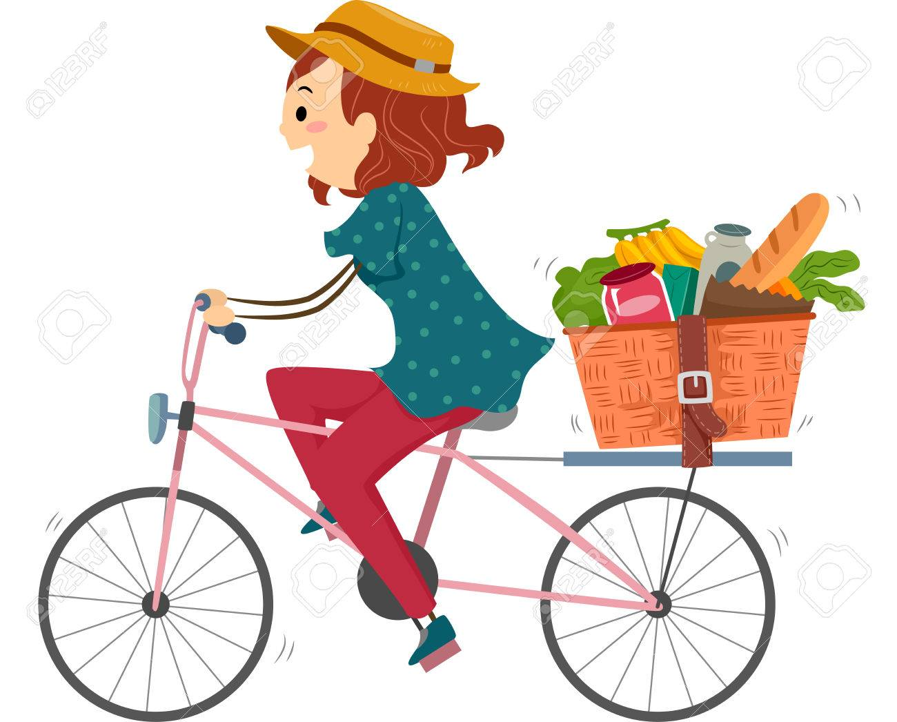 Illustration of a Woman on a Bike Returning from Grocery Shopping - 50784270