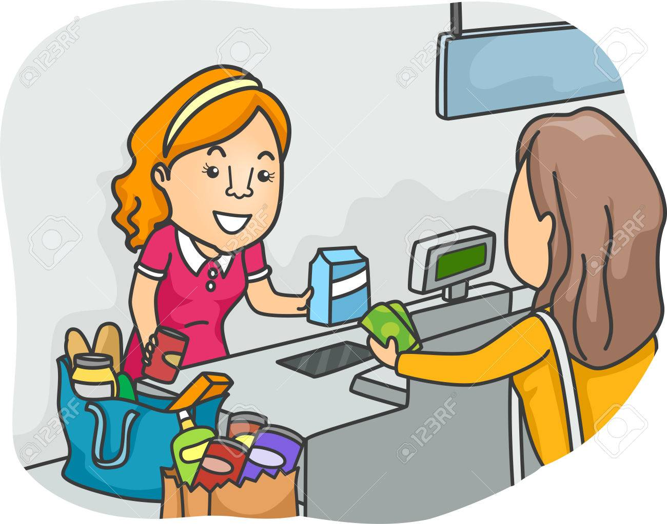 Illustration Of A Shopper Standing In Front Cashier Stock Photo