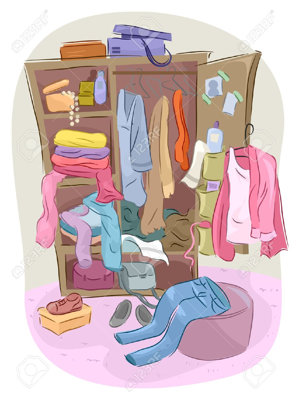 Illustration Of A Closet Overflowing With Clutter Stock