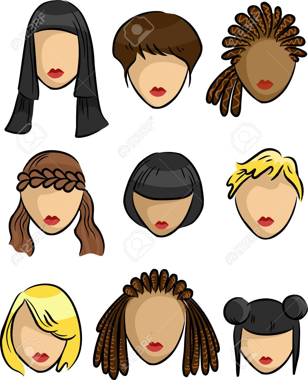 Grouped Illustration Featuring Samples Of Hairstyles For Women Stock ...