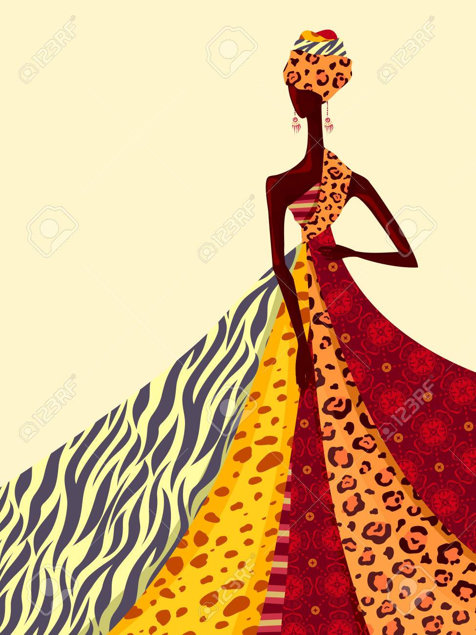 Illustration of an African Girl Modeling a Gown Made From Brightly Colored Fabrics - 50784382