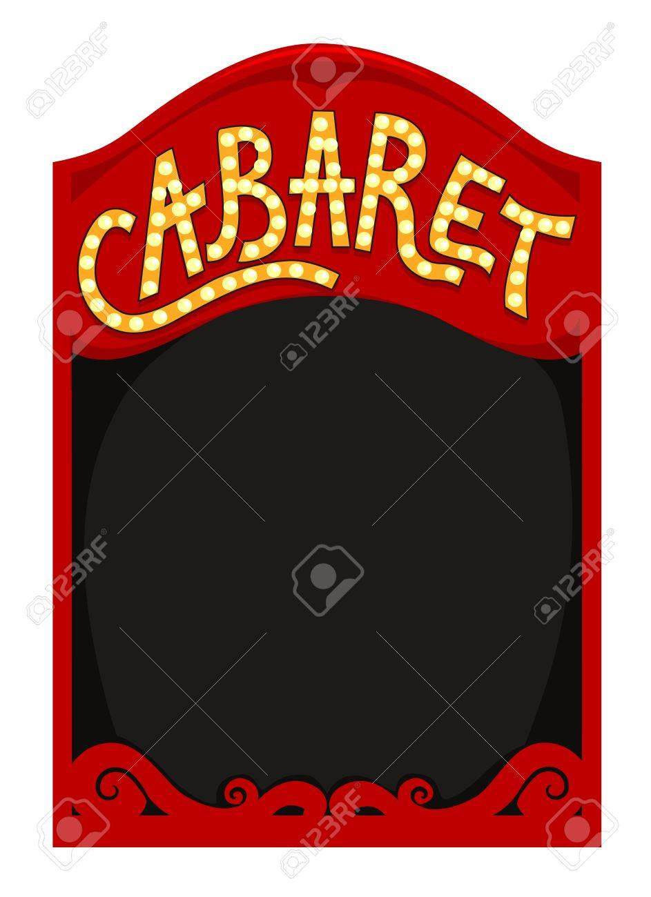 frame illustration featuring a red box with the word cabaret stock rh 123rf com Reading Clip Art Cabaret Graphics
