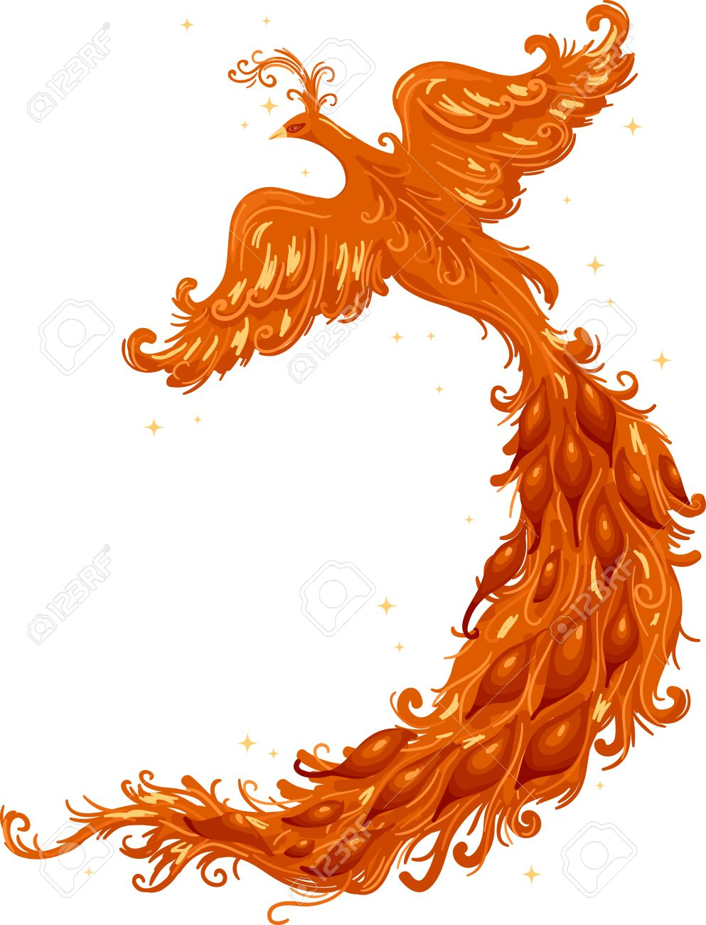 cutout illustration of a firebird with a majestic tail stock photo