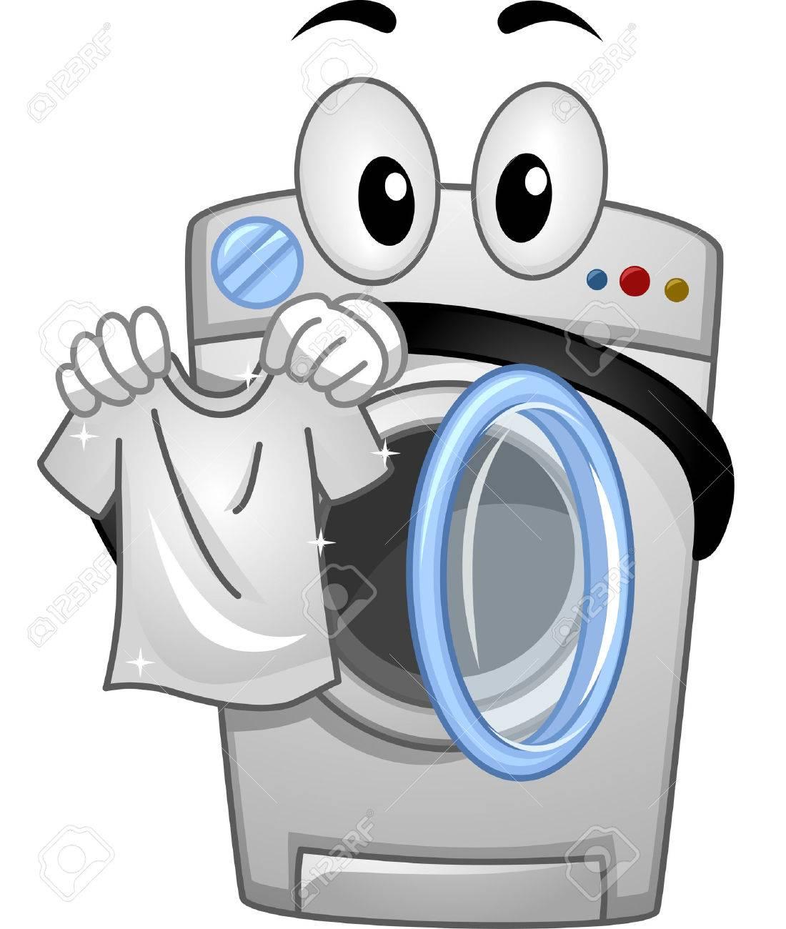 Mascot Illustration of a Washing Machine Handling a White Clean Shirt - 54948826