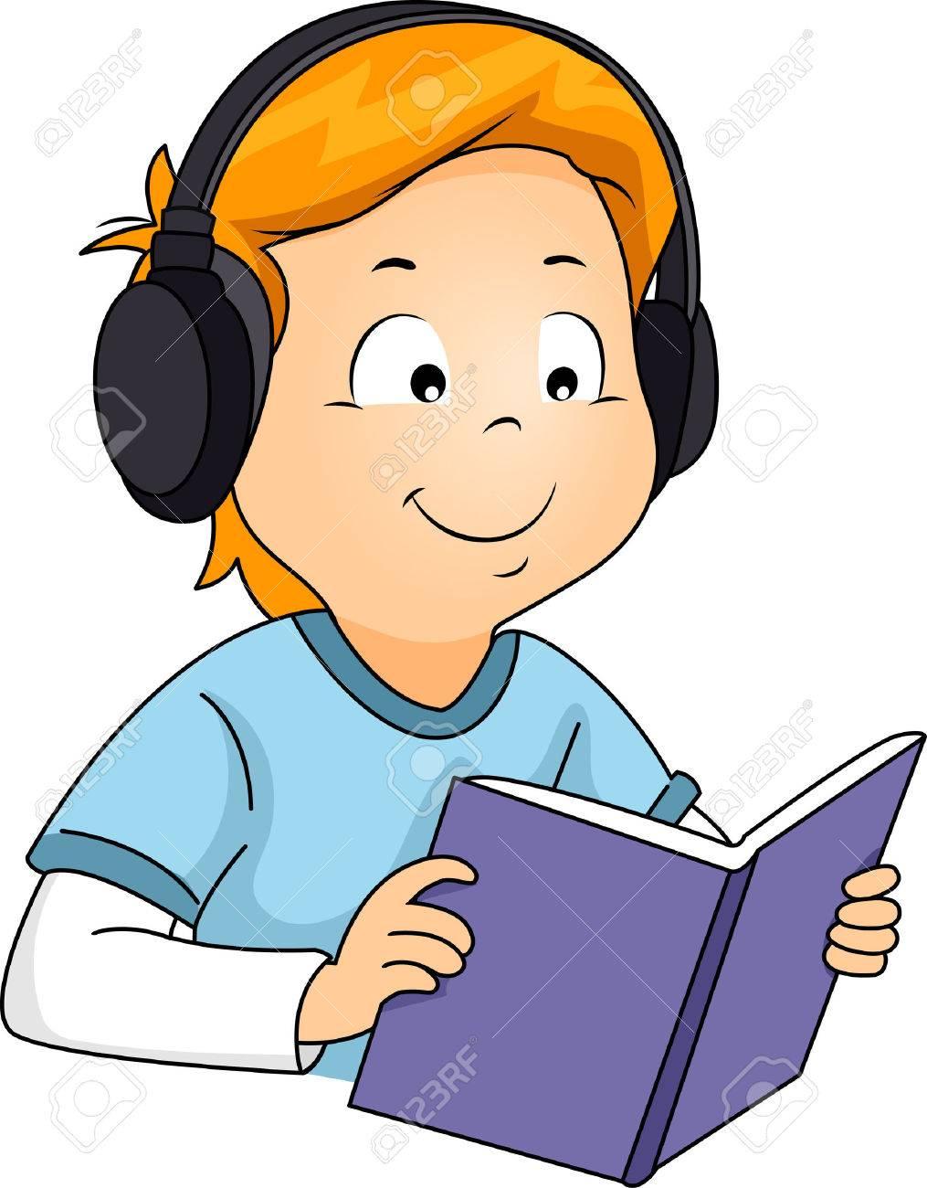 本を読みながら音声を聞く少年のイラスト ロイヤリティーフリーフォト