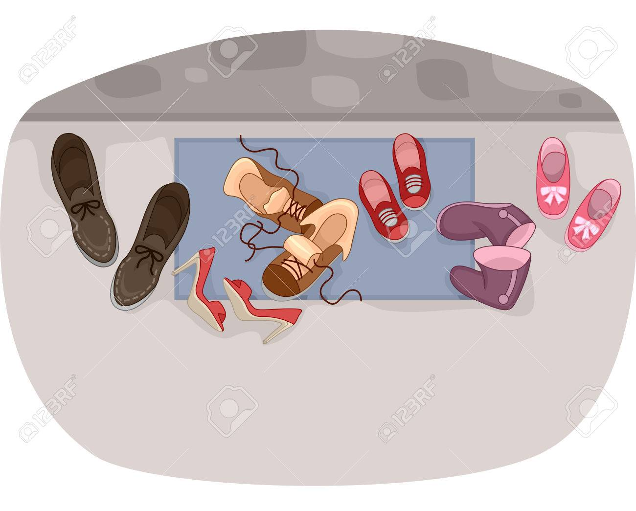 Illustration   Illustration Of Family Shoes By The Front Door