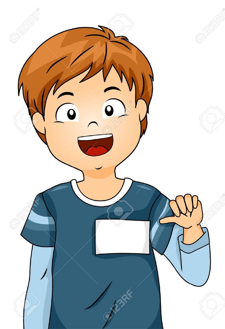彼の名前が空白タグを示す少年のイラスト の写真素材画像素材 Image