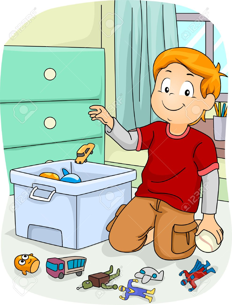 Illustration of a Boy doing Household Chores by Putting His Toys Inside a Store Box - 55304208