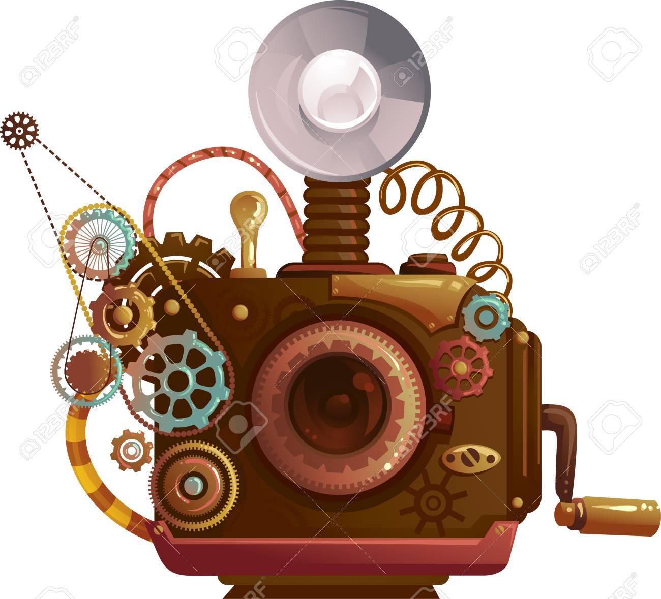 ビンテージ カメラの歯車と歯車設計のスチーム パンクなイラスト の写真