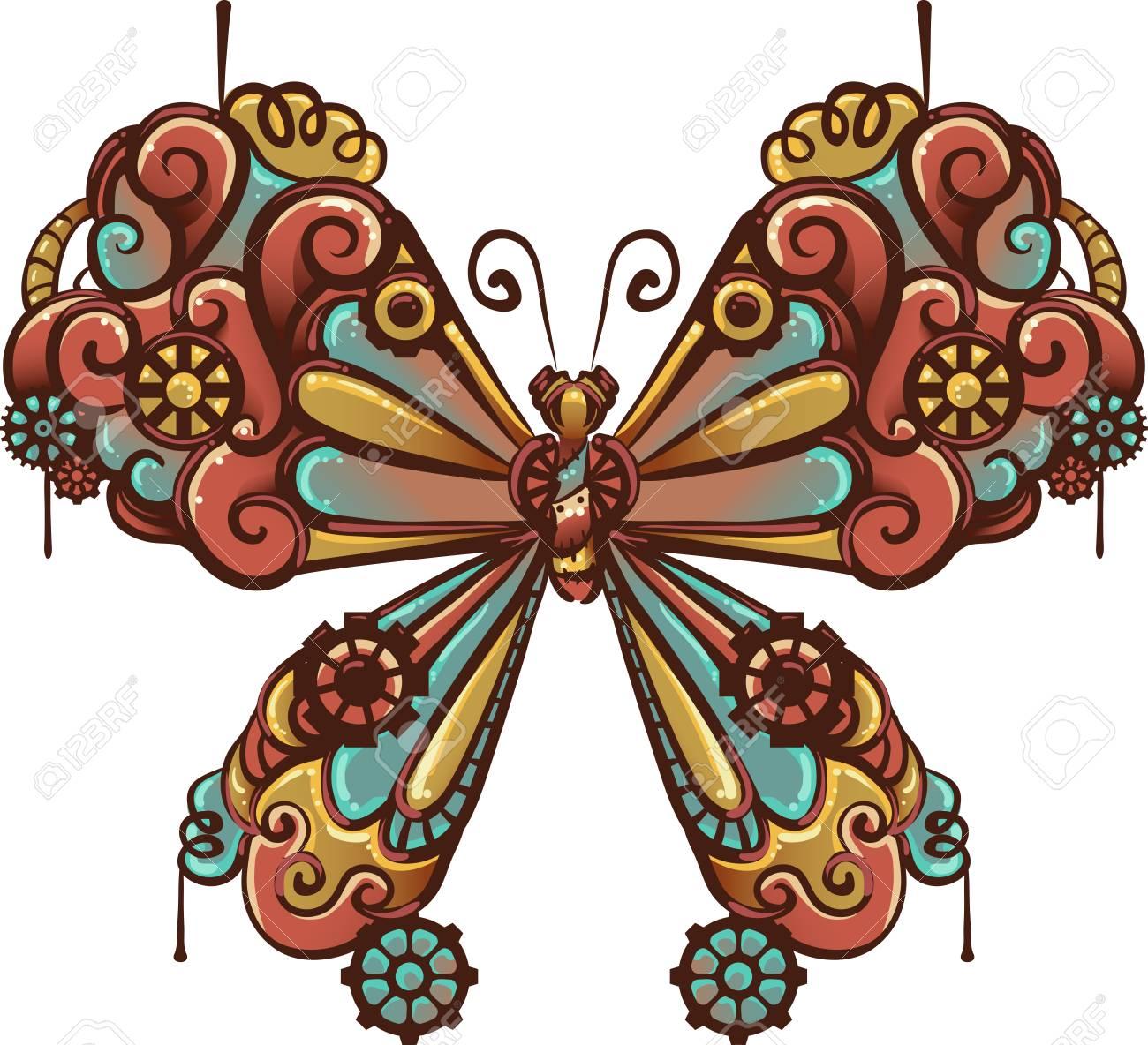 歯車と歯車で作られた蝶のスチーム パンクなイラスト の写真素材画像