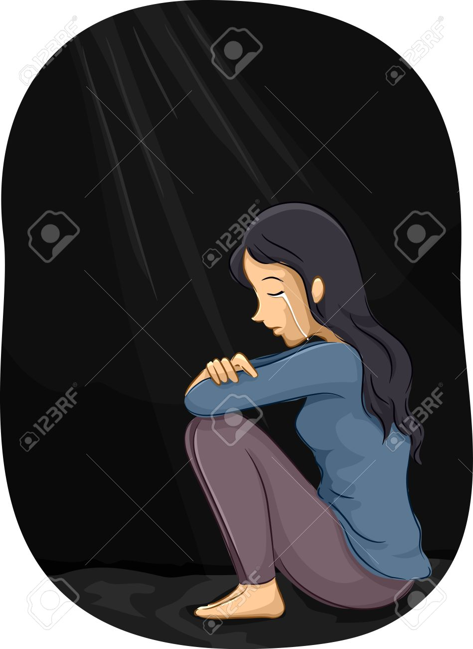 Illustration of a depressed girl crying in a corner stock illustration 55880241