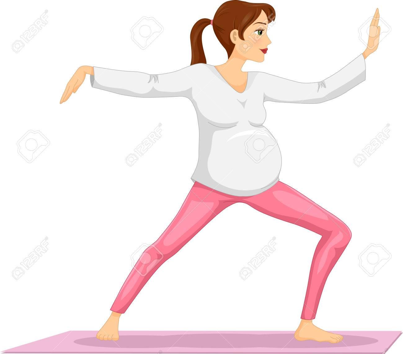 太極拳をやって妊娠中の女の子のイラスト の写真素材画像素材 Image