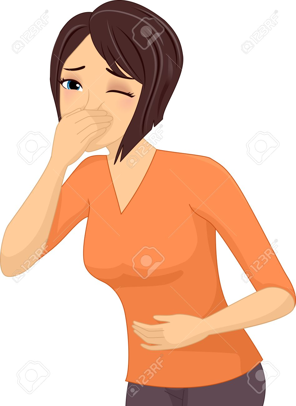 illustration of a sick girl about to throw up stock photo, picture