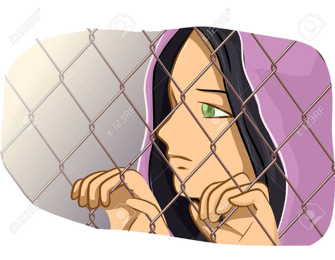 Illustration Of A Female Refugee Clutching A Chain Link Fence ...