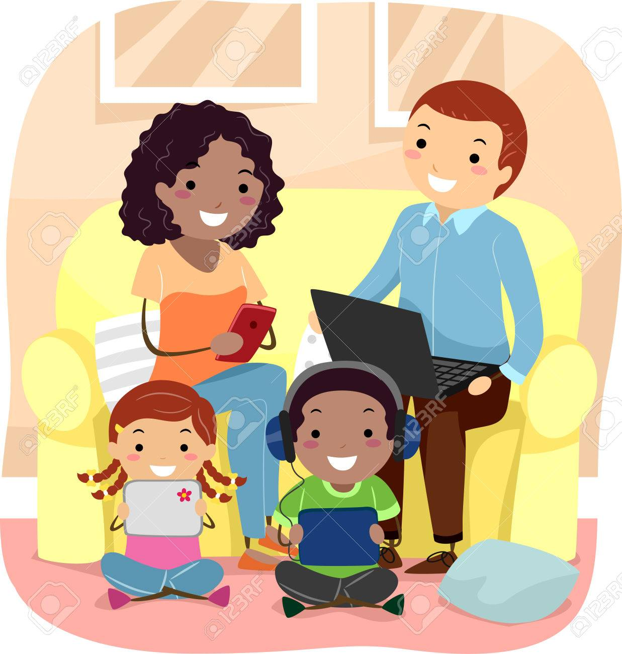 Family Room Clipart Stickman Illustration Of A Using Their Individual Gadgets In The Living