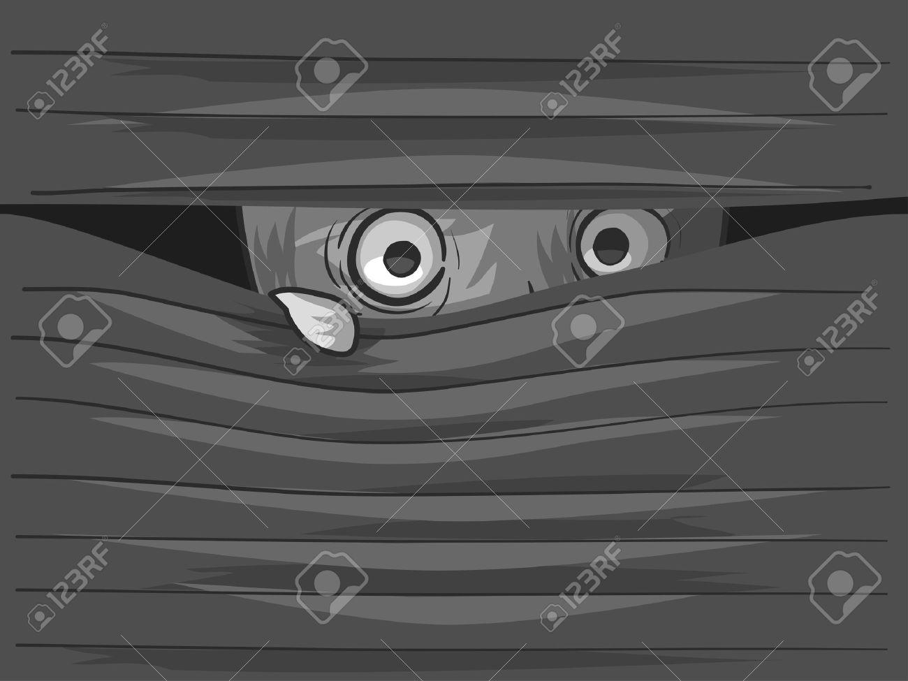 Illustration of an Agoraphobic Man Peeking from Behind His Venetian Blinds - 55880130
