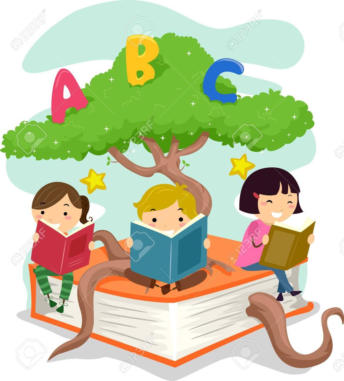 stickman illustration of kids reading books while sitting on stock