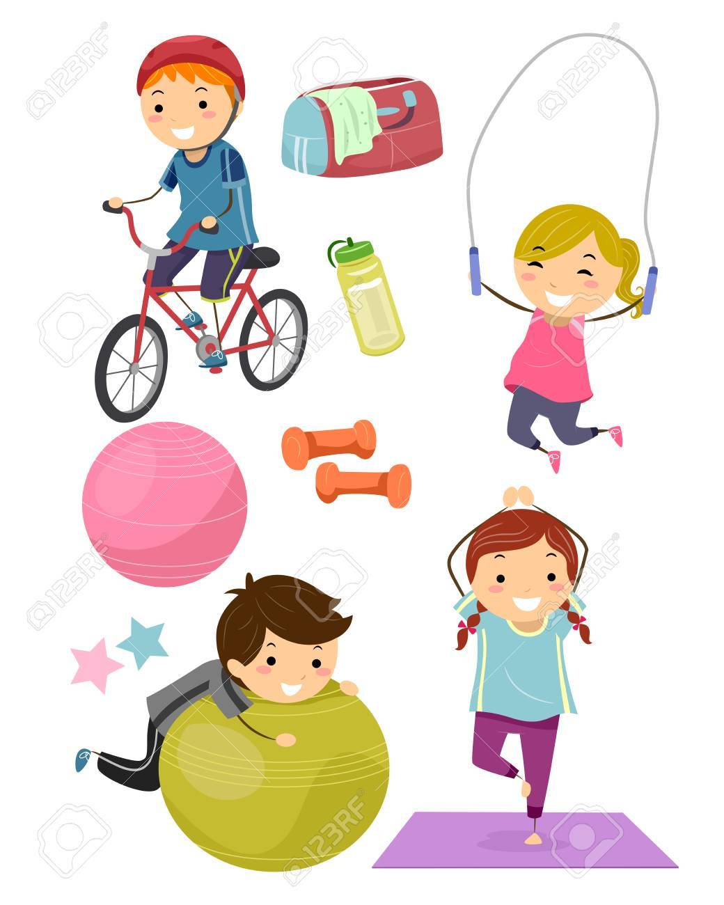 Stickman Illustration Featuring Kids Surrounded with Fitness Related Items - 56461743