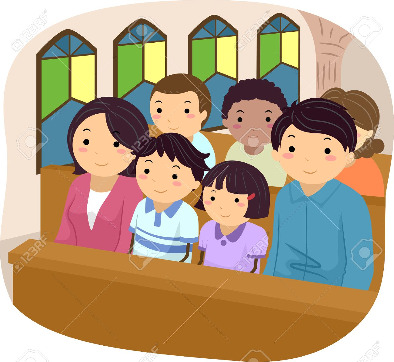 Stickman Illustration of a Family Attending Mass Together - 57058406
