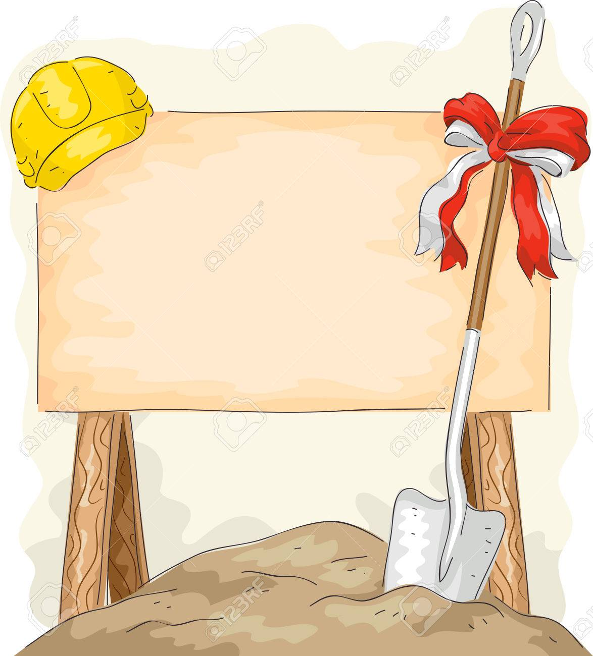 Illustration of a Shovel Placed Beside a Construction Sign - 57058580