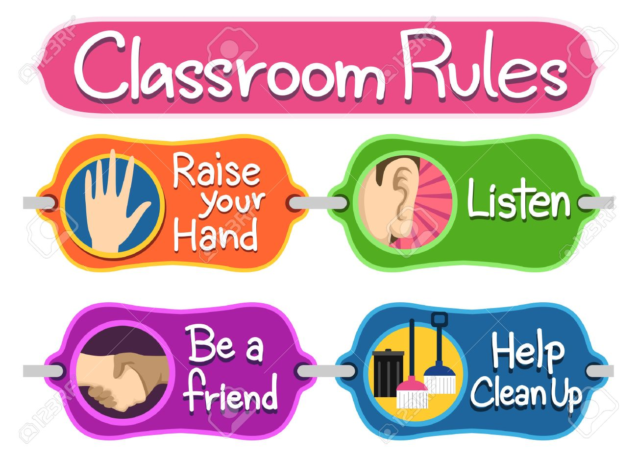 illustration of ready to print labels of classroom rules stock photo