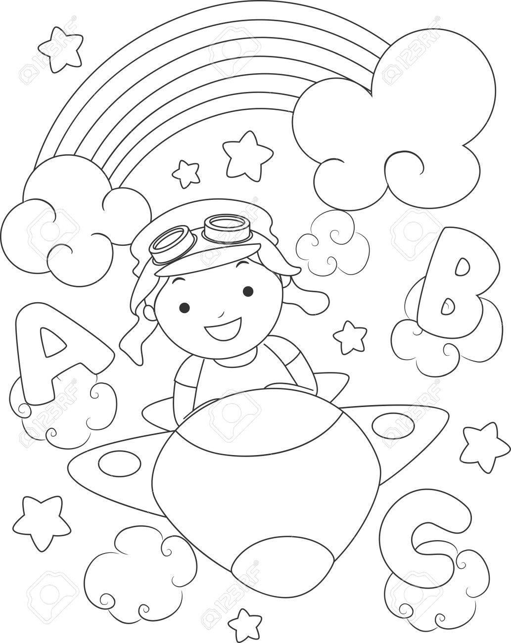 Blanco Y Negro Para Colorear Ilustración De Un Niño Vestido Como Un ...