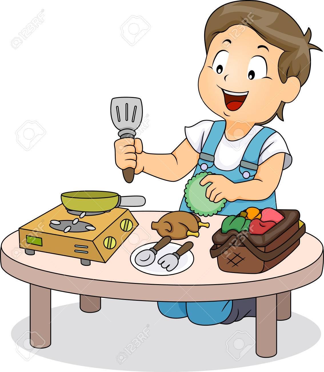 Ilustración De Un Niño Jugando Con Los Mini Utensilios De Cocina ...