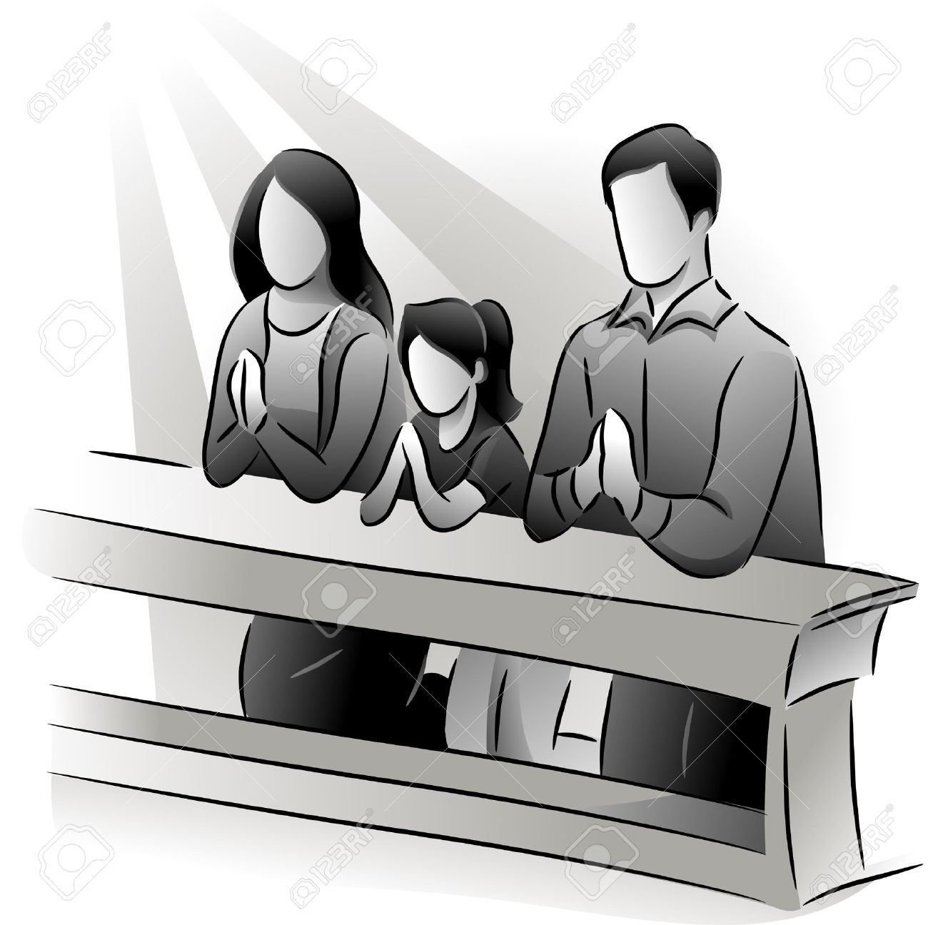 Black And White Illustration Featuring A Family Praying Together