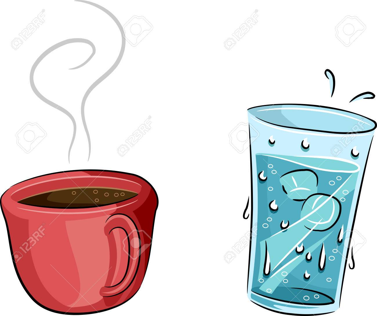illustration featuring a cold glass of water and a cup of hot rh 123rf com glass with water cliparts glass of ice water clip art