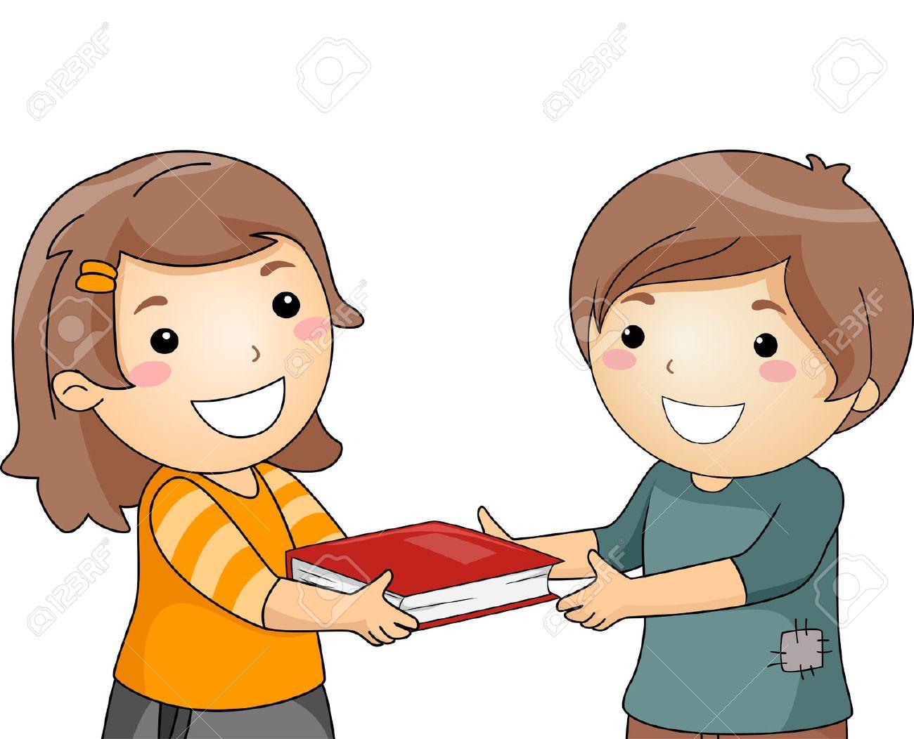 Illustration D Une Petite Fille Donner Un Livre A Un Petit Garcon Banque D Images Et Photos Libres De Droits Image 63479218