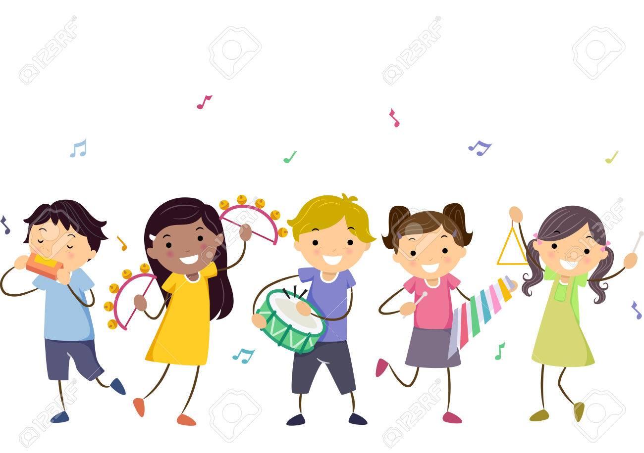 子供たちのさまざまな楽器を演奏のバッター イラスト の写真素材画像