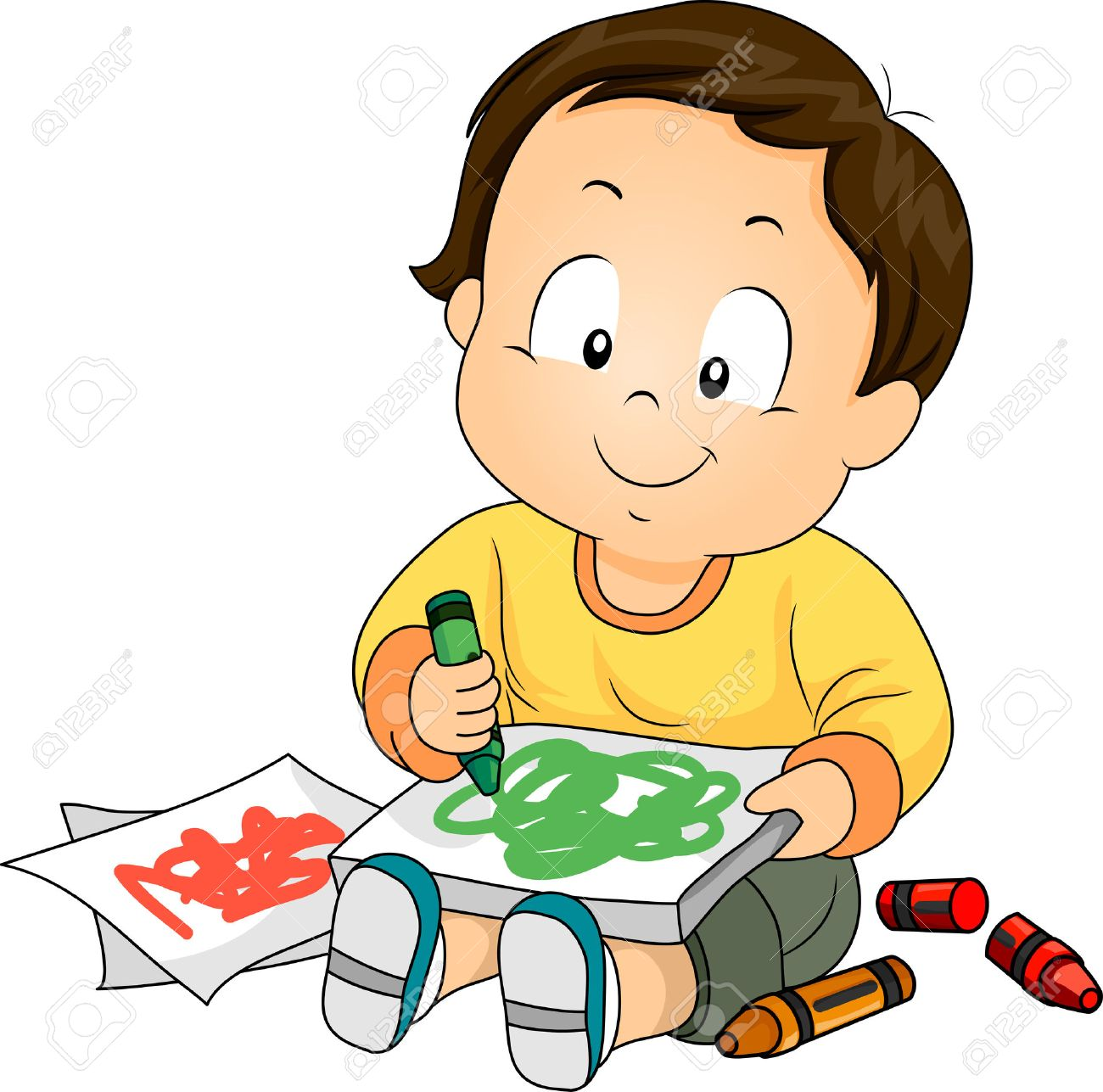 illustration of a baby boy drawing doodles with crayons stock photo