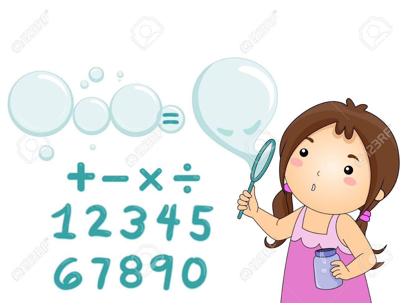 Illustration Eines Kleinen Mdchens Blowing Bubbles Ber Math