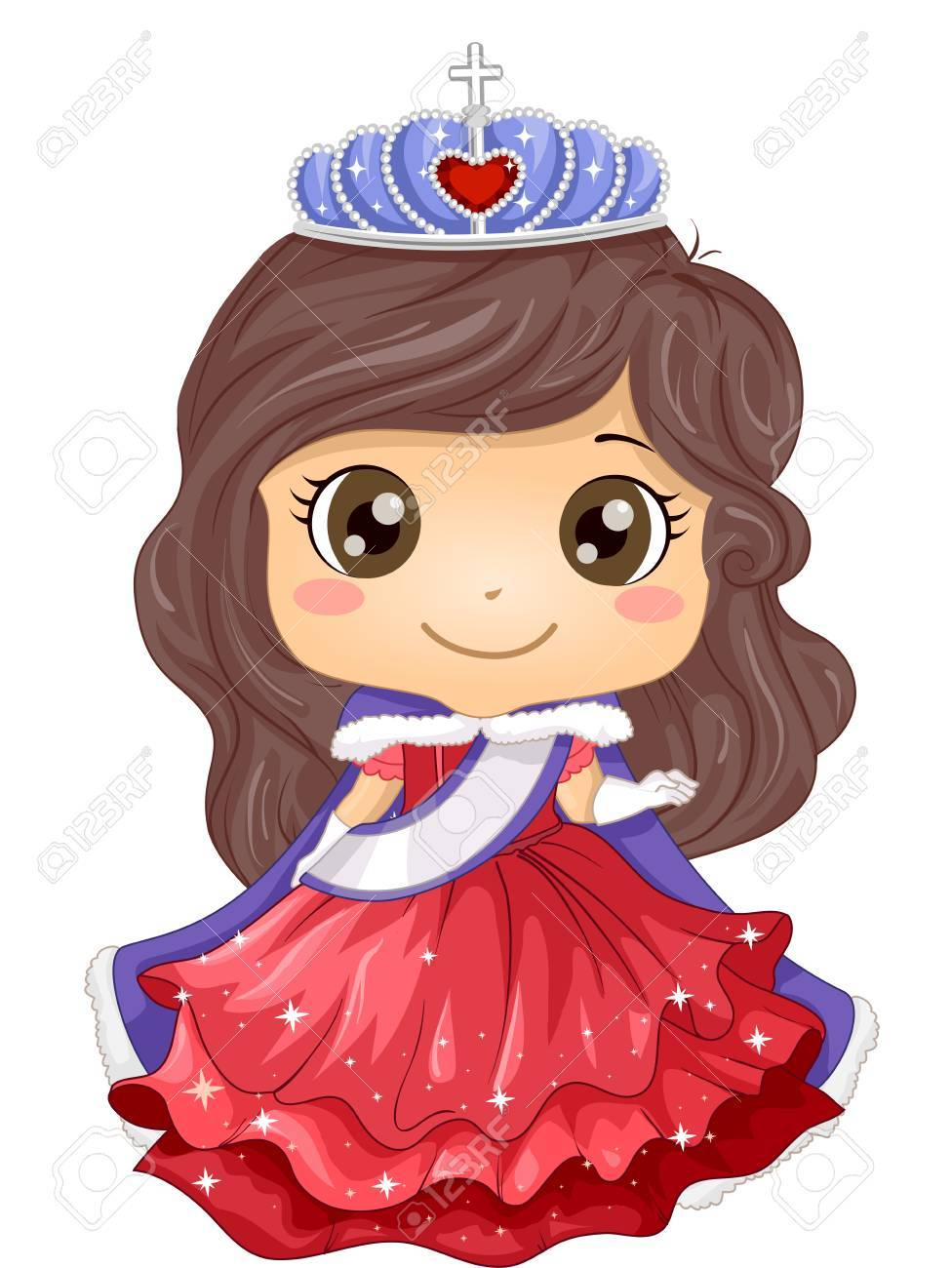 Illustration Of A Young Beauty Queen Wearing A Gown And A Tiara Stock Photo Picture And Royalty Free Image Image 64886380