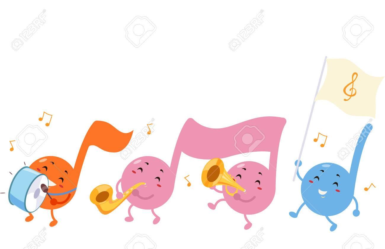 楽器を演奏しながら行進している音符のかわいいマスコット イラスト の