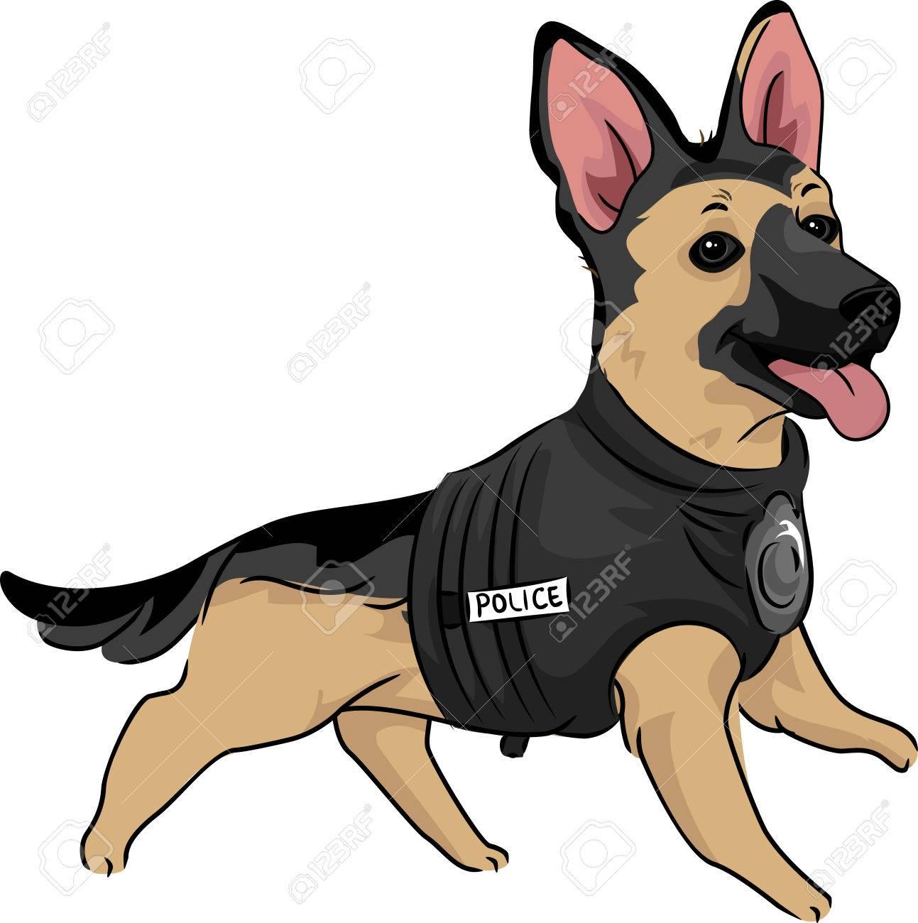 Animal Illustration Of A Cute German Shepherd Puppy In A Training