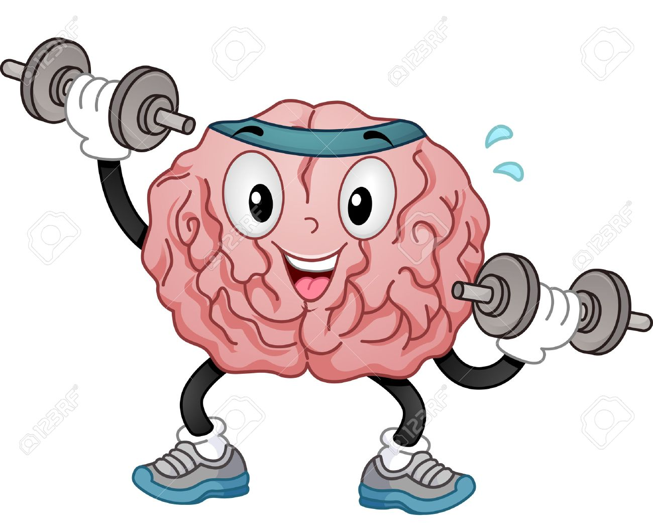 Illustration of a Brain Mascot in Sporty Headband and Training Shoes Alternately Lifting Dumbbells - 64592020