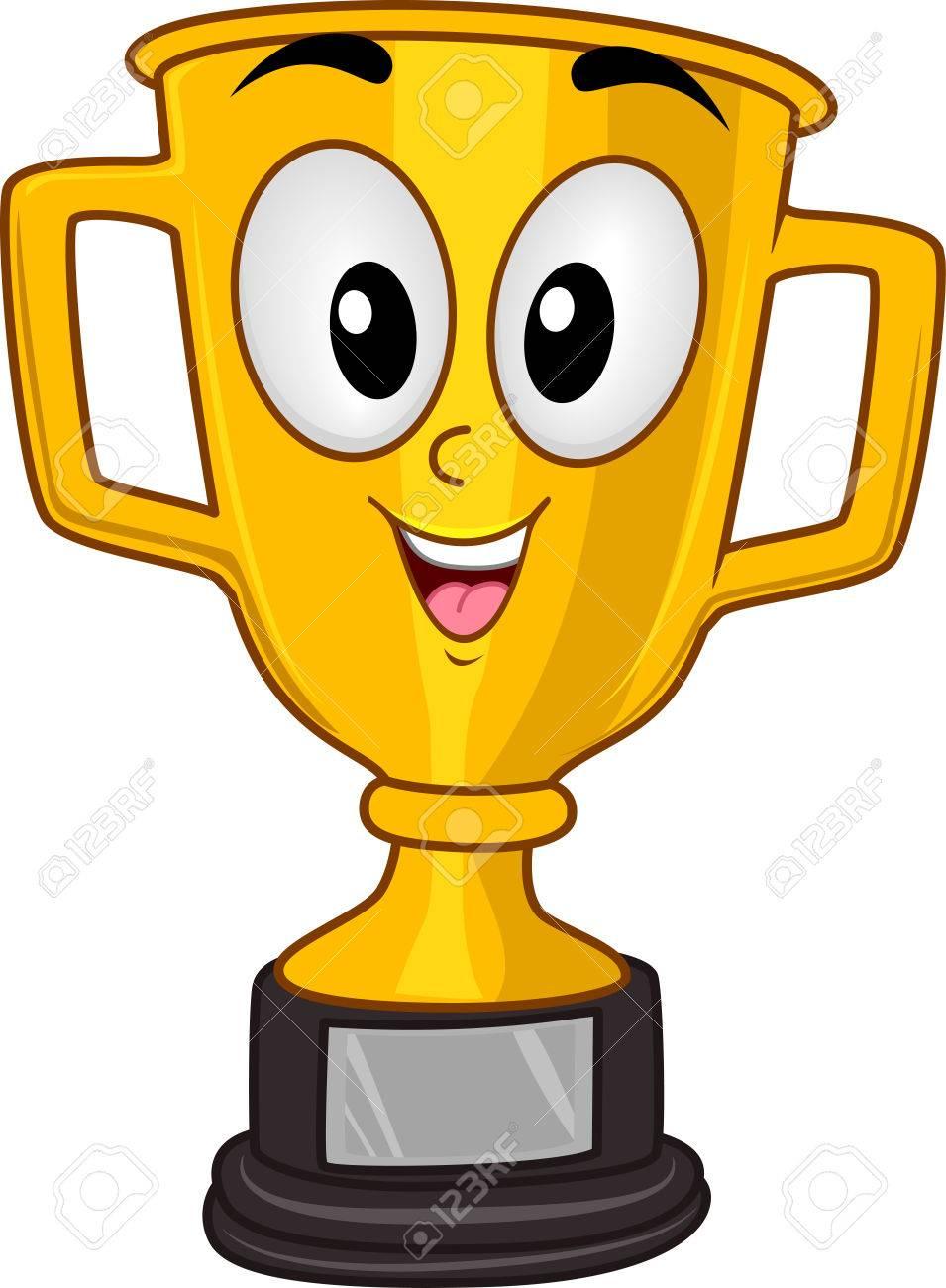 スポーツ優勝カップの笑みを浮かべてゴールデン トロフィーのマスコット
