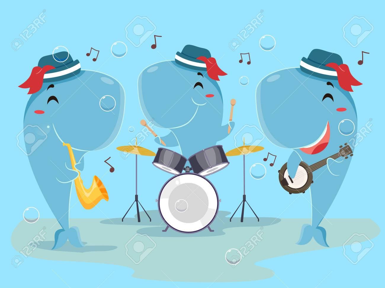 ドラム ホーン バンジョーを演奏するクジラ バンドのかわいい動物イラスト の写真素材 画像素材 Image