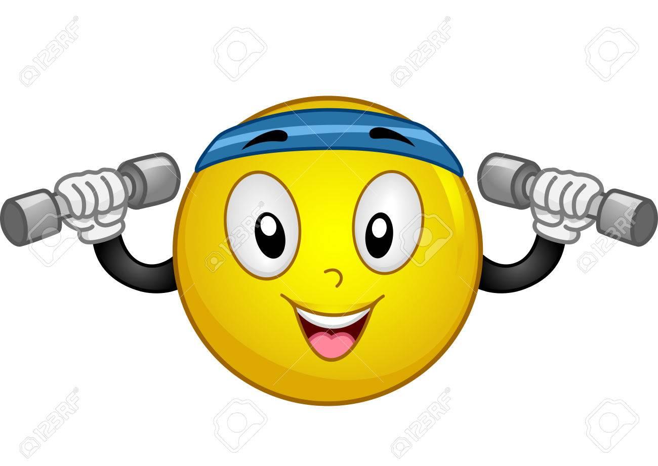 La Mascota Ilustración De Un Smiley Enérgico Llevaba Una Diadema ...