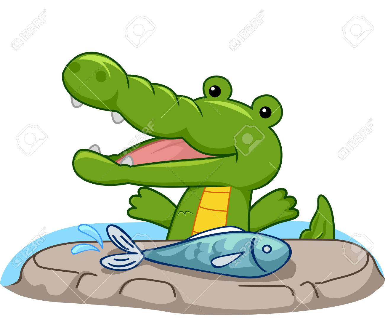 Freshwater fish to eat - Illustration Mascot Illustration Of A Hungry Crocodile Preparing To Eat A Freshwater Fish