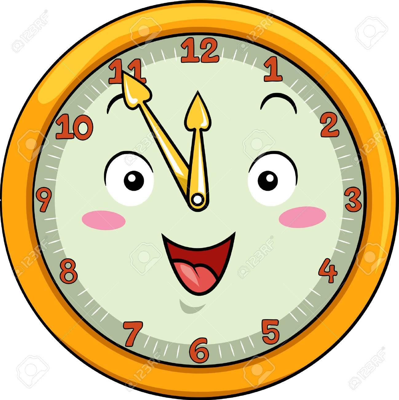 Image D Une Horloge mascot illustration d'une horloge sourire avec ses mains pointant