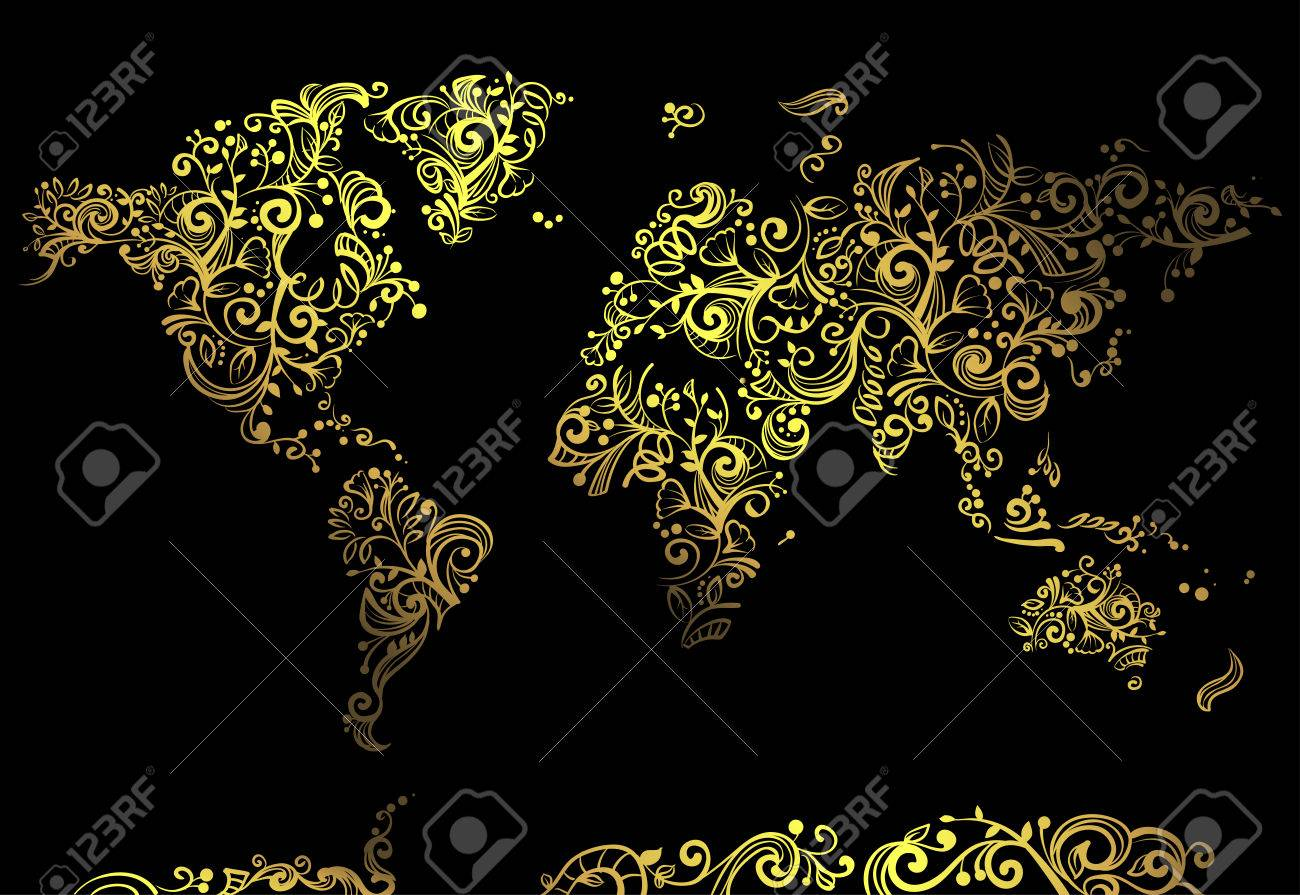 Artsy illustration featuring a world map made of artsy golden artsy illustration featuring a world map made of artsy golden vines set against a black background gumiabroncs Image collections