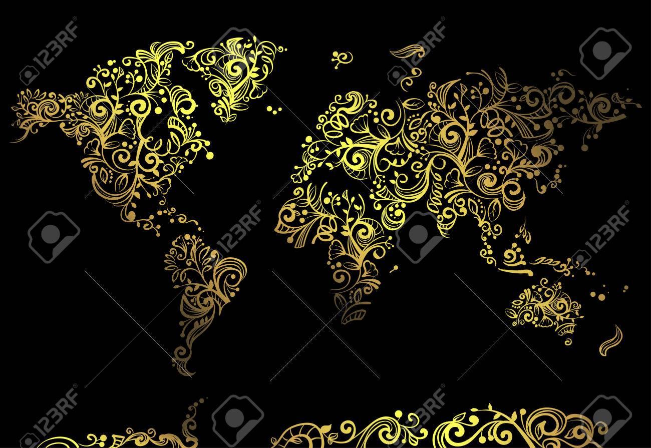 Artsy Illustration Featuring A World Map Made Of Artsy Golden